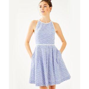 Lilly Pulitzer Tori Eyelet Dress in Blue Stripe